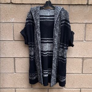 Hooded short sleeve open front cardigan
